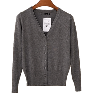 Women V Neck Knitted Long Sleeve Loose Buttons Cardigan-Cardigan-Sour Grapes Online-Dark Grey-S-