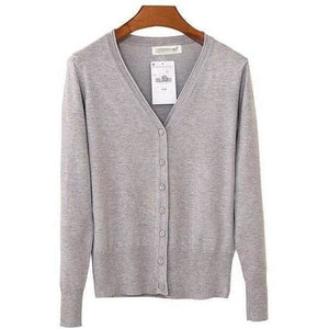 Women V Neck Knitted Long Sleeve Loose Buttons Cardigan-Cardigan-Sour Grapes Online-Light Grey-S-