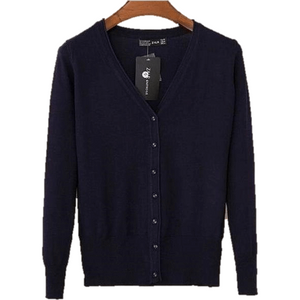 Women V Neck Knitted Long Sleeve Loose Buttons Cardigan-Cardigan-Sour Grapes Online-Navy Blue-S-