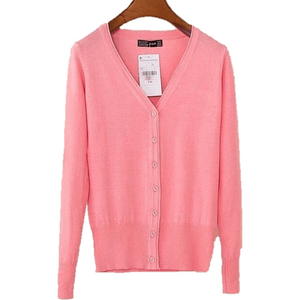 Women V Neck Knitted Long Sleeve Loose Buttons Cardigan-Cardigan-Sour Grapes Online-Pink-S-