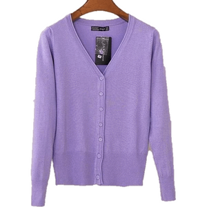 Women V Neck Knitted Long Sleeve Loose Buttons Cardigan-Cardigan-Sour Grapes Online-Purple-S-