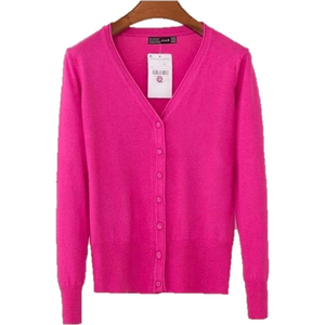 Women V Neck Knitted Long Sleeve Loose Buttons Cardigan-Cardigan-Sour Grapes Online-Rose Red-S-
