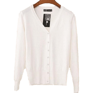 Women V Neck Knitted Long Sleeve Loose Buttons Cardigan-Cardigan-Sour Grapes Online-White-S-