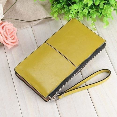 Women Wallets Candy Oil Leather Wallet Long Design Day Clutch Casual Lady Cash Purse Women Hand Bag Carteira Feminina HQB1673-Wallet-Sour Grapes Online-army green-