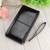 Women Wallets Candy Oil Leather Wallet Long Design Day Clutch Casual Lady Cash Purse Women Hand Bag Carteira Feminina HQB1673-Wallet-Sour Grapes Online-black-
