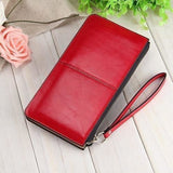 Women Wallets Candy Oil Leather Wallet Long Design Day Clutch Casual Lady Cash Purse Women Hand Bag Carteira Feminina HQB1673-Wallet-Sour Grapes Online-red-
