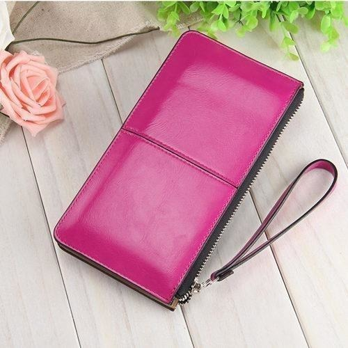 Women Wallets Candy Oil Leather Wallet Long Design Day Clutch Casual Lady Cash Purse Women Hand Bag Carteira Feminina HQB1673-Wallet-Sour Grapes Online-rose-