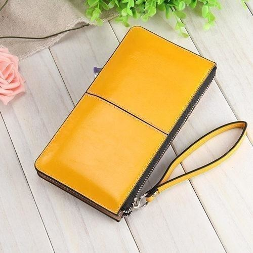 Women Wallets Candy Oil Leather Wallet Long Design Day Clutch Casual Lady Cash Purse Women Hand Bag Carteira Feminina HQB1673-Wallet-Sour Grapes Online-yellow-