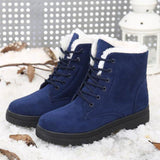 Women Warm Fur Lined Lace Up Ankle Winter Boots-Shoes-Sour Grapes Online-Blue-4.5-