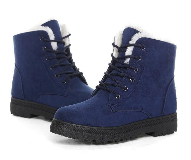 Women Warm Fur Lined Lace Up Ankle Winter Boots-Shoes-Sour Grapes Online-Blue-10-