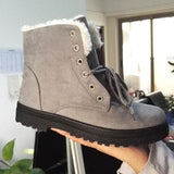 Women Warm Fur Lined Lace Up Ankle Winter Boots-Shoes-Sour Grapes Online-Grey-4.5-