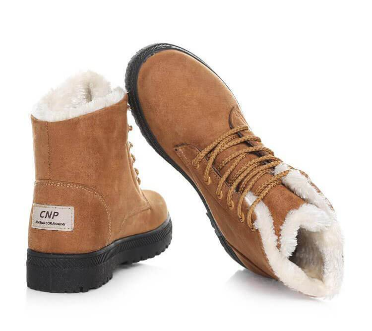 Women Warm Fur Lined Lace Up Ankle Winter Boots-Shoes-Sour Grapes Online-Khaki-4.5-
