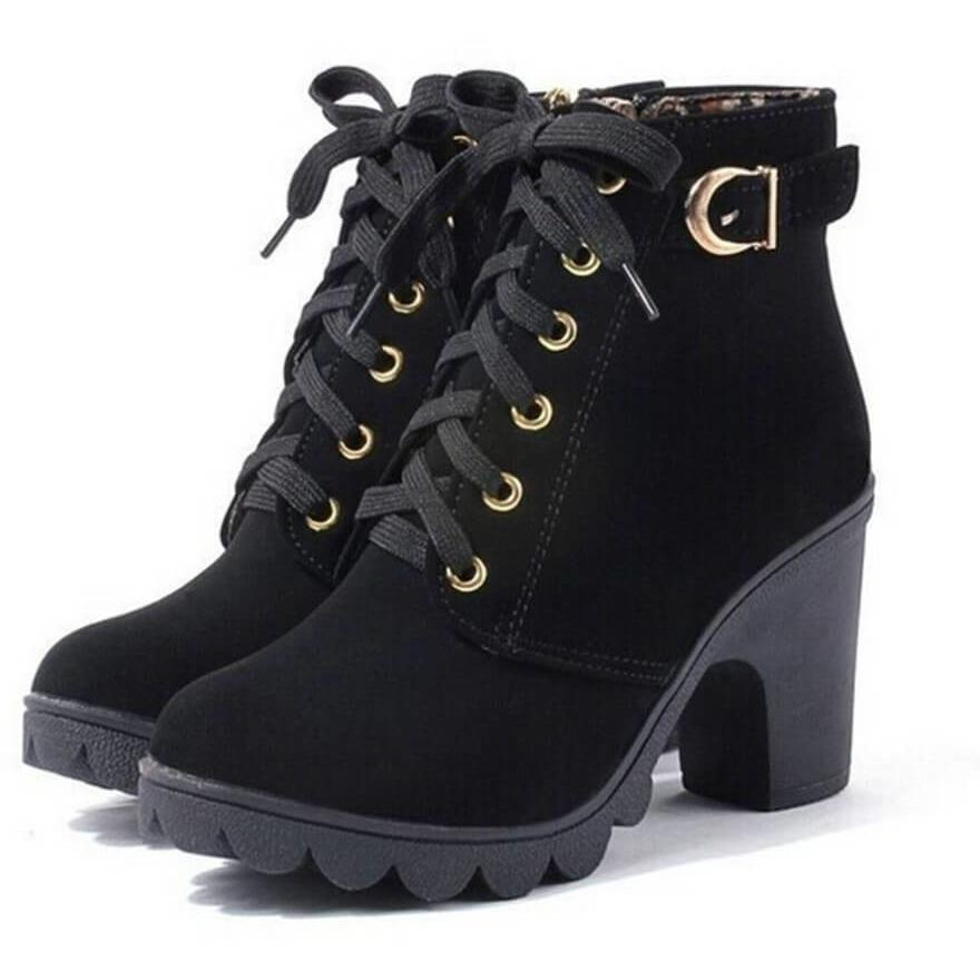 High Heel Ankle Winter Warm Snow Shoes Girls Leather Boots