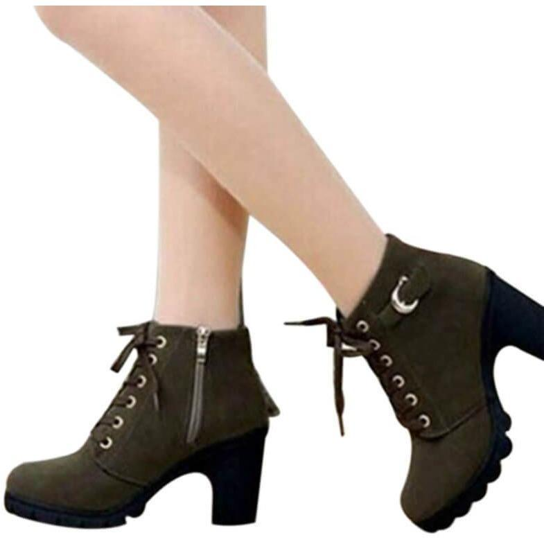 Women Winter High Heel Ankle Warm Snow Boots Girls Shoes