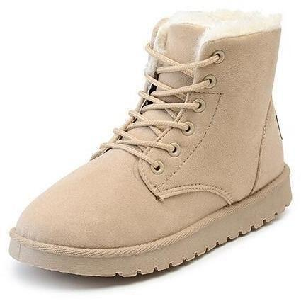 Women Winter Snow Boots Fashion Footwear Ankle Boots-Shoes-Sour Grapes Online-Beige-4.5-