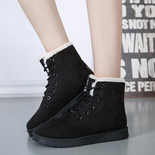 Women Winter Snow Boots Fashion Footwear Ankle Boots-Shoes-Sour Grapes Online-Black-4.5-