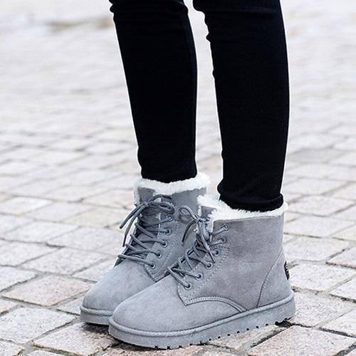 Women Winter Snow Boots Fashion Footwear Ankle Boots-Shoes-Sour Grapes Online-Gray-4.5-