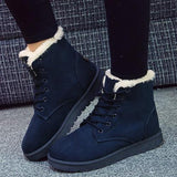 Women Winter Snow Boots Fashion Footwear Ankle Boots-Shoes-Sour Grapes Online-Navy-4.5-