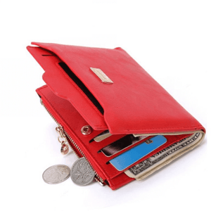 Women Zipper Leather Purse Coin Card Holder Wallets for Girls-Wallet-Sour Grapes Online-Red-