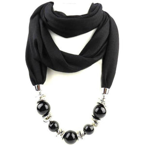 Womens Jewelry Necklace Scarf Beads Pendant Black Neckerchief-Scarf-Sour Grapes Online-Black-160CM-
