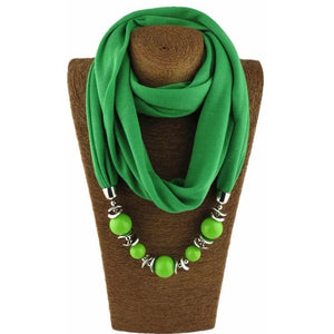 Womens Jewelry Necklace Scarf Beads Pendant Black Neckerchief-Scarf-Sour Grapes Online-Green-160CM-