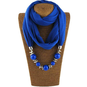Womens Jewelry Necklace Scarf Beads Pendant Blue Neckerchief-Scarf-Sour Grapes Online-Blue-