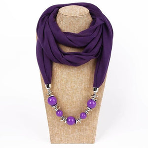 Womens Jewelry Necklace Scarf Beads Pendant Blue Neckerchief-Scarf-Sour Grapes Online-Purple-