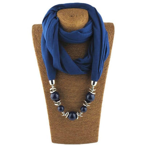 Womens Jewelry Necklace Scarf Beads Pendant Brown Neckerchief-Scarf-Sour Grapes Online-Blue-