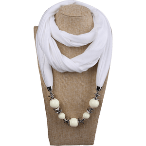 Womens Jewelry Necklace Scarf Beads Pendant Brown Neckerchief-Scarf-Sour Grapes Online-White-