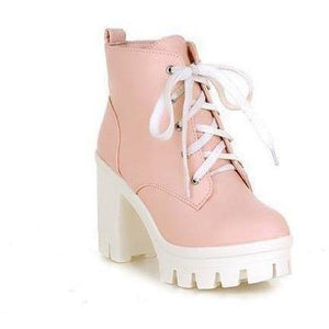 Women's High Heels Punk Platform Ankle Boots for Winter-Shoes-Sour Grapes Online-Pink-4-