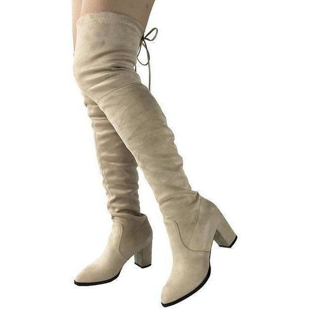 Womens Micro Suede Thick Heel Stretch Thigh High Over the Knee Boots-Shoes-Sour Grapes Online-Apricot-6-