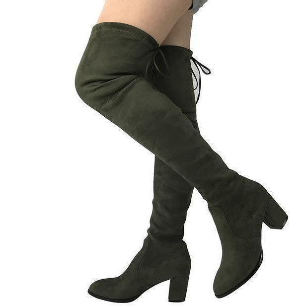 Womens Micro Suede Thick Heel Stretch Thigh High Over the Knee Boots-Shoes-Sour Grapes Online-Army Green-5-