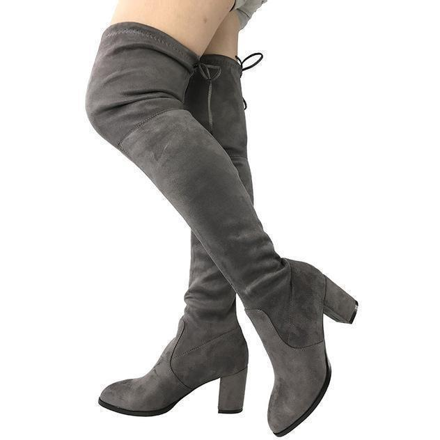 Womens Micro Suede Thick Heel Stretch Thigh High Over the Knee Boots-Shoes-Sour Grapes Online-Dark Grey-5-