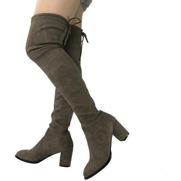 Womens Micro Suede Thick Heel Stretch Thigh High Over the Knee Boots-Shoes-Sour Grapes Online-Dark Khaki-5-