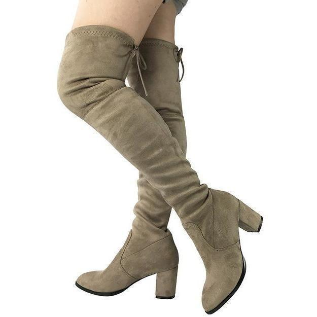 Womens Micro Suede Thick Heel Stretch Thigh High Over the Knee Boots-Shoes-Sour Grapes Online-Light Khaki-5-