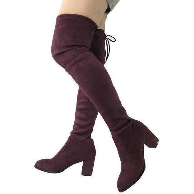 Womens Micro Suede Thick Heel Stretch Thigh High Over the Knee Boots-Shoes-Sour Grapes Online-Purple Red-5-