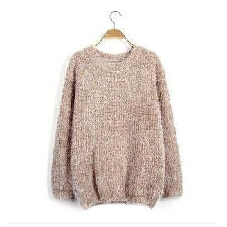 Women's O-Neck Loose Pullover Casual Sweater-Pullover-Sour Grapes Online-Khaki-One Size-