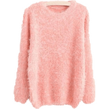 Women's O-Neck Loose Pullover Casual Sweater-Pullover-Sour Grapes Online-Pink-One Size-