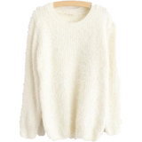 Women's O-Neck Loose Pullover Casual Sweater-Pullover-Sour Grapes Online-White-One Size-