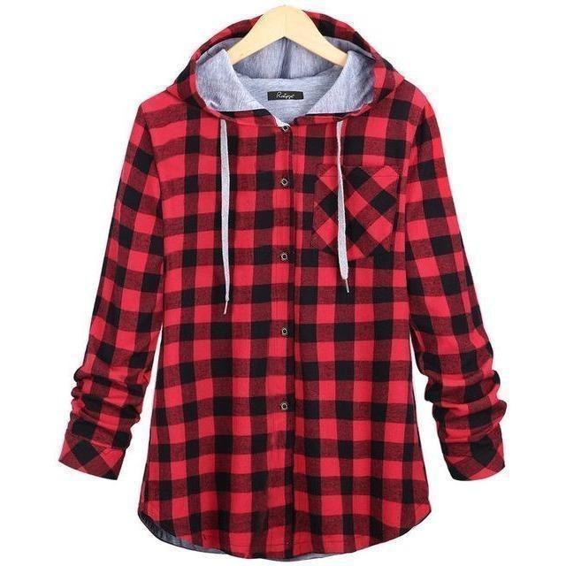 Women's Plaid Cotton Hooded Long Sleeve Checkered Shirt-Shirt-Sour Grapes Online-Red-L-