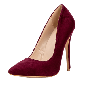 Women's Pumps Slip-On Shallow Pointed Toe High Heels-Pumps-Sour Grapes Online-Maroon-6.5-
