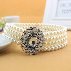 Whole sale 12 types New Fashion Small Gold Buckle Inlaying Rhinestone Pearl Elastic Belt Women's Strap Female Accessories Dress-Belt-Sour Grapes Online-13EL2-