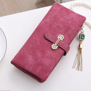 Womens Suede Pendant Cute Long Designer Wallets