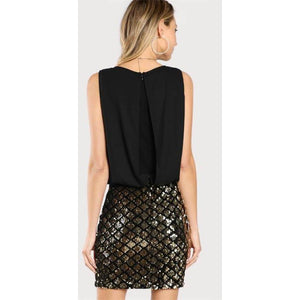 Zipper Back Sheath Cocktail Party Two Tone Sparkle Combo Dress-Dress-Sour Grapes Online-Black-XS-