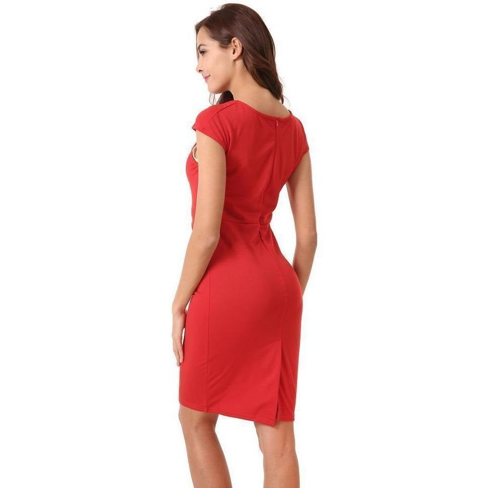 Zipper Smock V-neck Knit Fabric Short Sleeve Red Dress-Dress-Sour Grapes Online-S-Red-