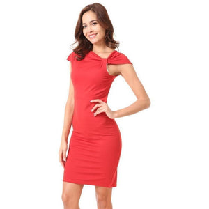 Zipper Smock V-neck Knit Fabric Short Sleeve Red Dress-Dress-Sour Grapes Online-L-Red-