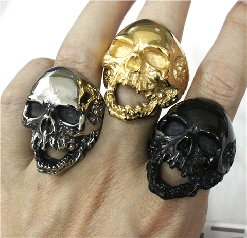 Walking Evil Skull Stainless Steel Cool Biker Ring