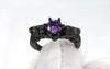 Image of Luxury Vintage Skull Purple Cubic Zirconia Eco-friendly Brass Ring