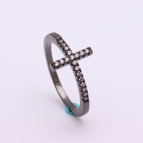 Vintage Sideways Cross Ring For Remembrance and Faith