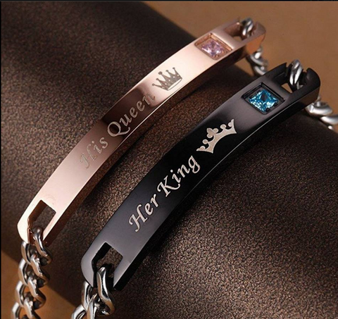 """HER KING HIS QUEEN"" TITANIUM STEEL BANGLES COUPLES ROSE GOLD BLACK BRACELET"